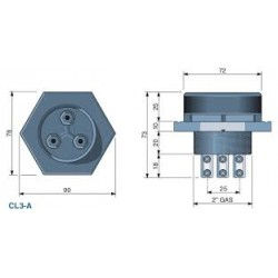 "CL3-A elektroodihoidja, 3-ne, max +70C, 0 bar, 2"""
