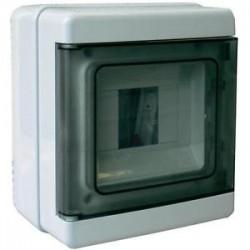 EC62004 luugiga plastkilp, 170x150x100mm, pinnapealne, ABS, hall, läbipaistev kaas, 4 moodulit, IP65