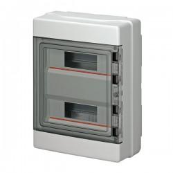 EC62024 luugiga plastkilp, 390x290x140mm, pinnapealne, ABS, hall, läbipaistev kaas, 2x12 moodulit, IP65