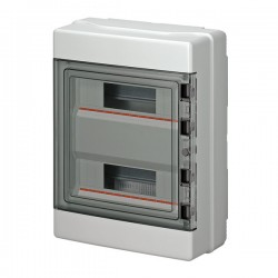 EC62024 modular enclosure, 390x290x140mm, wall mounting, ABS, gray, transparent cover, 2x12 modules, IP65