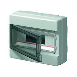 EC62008E luugiga plastkilp, 180x200x100mm, pinnapealne, ABS, hall, läbipaistev kaas, 1x8 moodulit, IP65