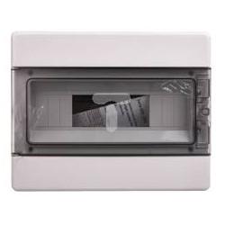 EC60012B luugiga plastkilp, 220x280x100mm, pinnapealne, ABS, valge, läbipaistev kaas, 1x12 moodulit, IP40