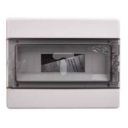 EC60012B modular enclosure, 220x280x100mm, wall mounting, ABS, white, transparent cover, 1x12 modules, IP40