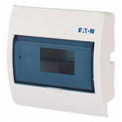 BC-U-1/8-ECO luugiga plastkilp, 195x195x105mm, süvistatav, ABS, valge, läbipaistev kaas, 1x8 moodulit, IP40