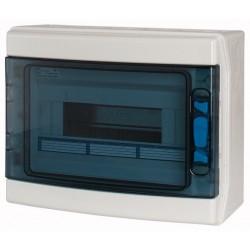 IKA-1/12-ST luugiga plastkilp, 246x310x148mm, pinnapealne, ABS, hall, läbipaistev kaas, 1x12 moodulit, IP65