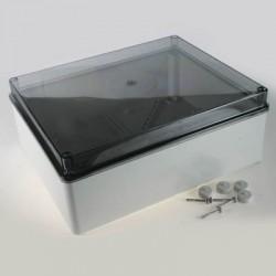AS45T plastkarp, 220x150x150mm, hall, läbipaistev kaas, IP55
