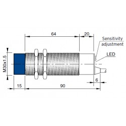 "CS10 mahtuvusandur, 12-30DC, M30 metallkorpus, PNP, NO/NC, 1-15mm, ""flush"", 4-juhtmeline, 2m juhe, IP67"