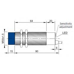 """CS16 mahtuvusandur, 12-30DC, M30 metallkorpus, PNP, NO/NC, 1-25mm, """"non flush"""", 4-juhtmeline, 2m juhe, IP67"""