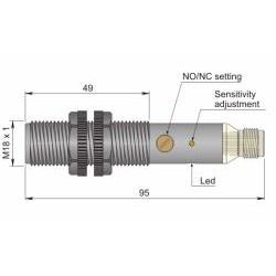"SC18SP-A5 mahtuvusandur, 20-250AC, M18 plastikkorpus, NO/NC, 0-5mm, ""flush"", H-pistik, IP67"