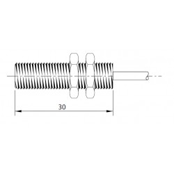 SM03 magnetandur, kuni 230AC/DC, Ø8mm, metallkorpus 30mm, 2-juhtmeline, NO, 2m juhe, IP67