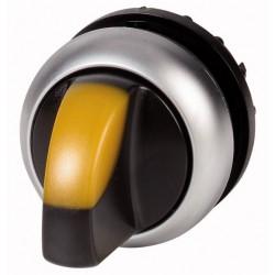 """M22-WLKV-Y kollane pöördlüliti, """"V"""" asendis, fikseeruv, kahepositsiooniline, hõbedase rõngaga"""