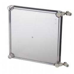 EKO 80-T-2FSH plastkarbi kaas, 280x280x80mm, polükarbonaat, läbipaistev, hingedega