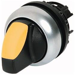 M22-WLK3-Y kollane pöördlüliti, 40°, tagastuv, kolmepositsiooniline, hõbedase rõngaga