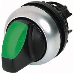 M22-WRLK-G roheline pöördlüliti, 60°, fikseeruv, kahepositsiooniline, hõbedase rõngaga