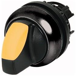 M22S-WLK3-Y kollane pöördlüliti, 40°, tagastuv, kolmepositsiooniline, musta rõngaga
