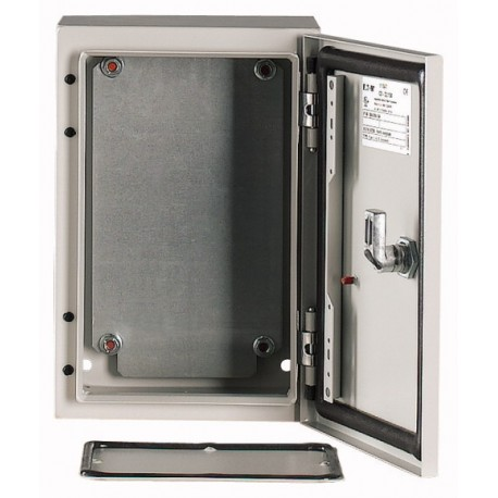 CS-54/200 metallkilp, K*L*S 500*400*200mm, pinnapealne, lehtteras, helehall, 2 lukku, IP66, montaažiplaadiga