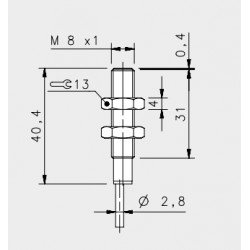 "IS-08-G1-03 inductive sensor, 10-30DC, ""flush"", short body, 2mm, PNP, NO, 2m cable, IP67"
