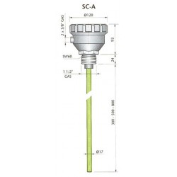 SC-A300 mahtuvusandur, 110/220AC, alumiinuim, L,300mm