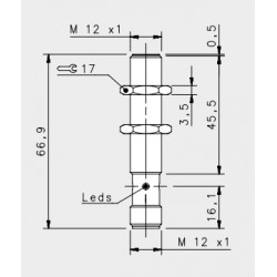 "IS-12-A1-S2 induktiivandur_ 10-30DC_ ""flush""_ standard korpus_ 2mm_ PNP_ NO_ M12 pistik_ IP67"