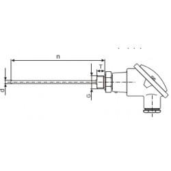 "J-termopaar ""peaga"", 0...+800C, 8x150mm, 2-klass, G½"""