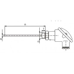 "J-termopaar, 0...+800C, 8x200mm, 2-klass, G½"""