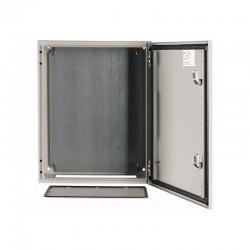 Metallkilp 800x600x250mm_ pinnapealne_ lehtteras_ helehall_ lukuga_ IP66_ paigaldusplaadiga