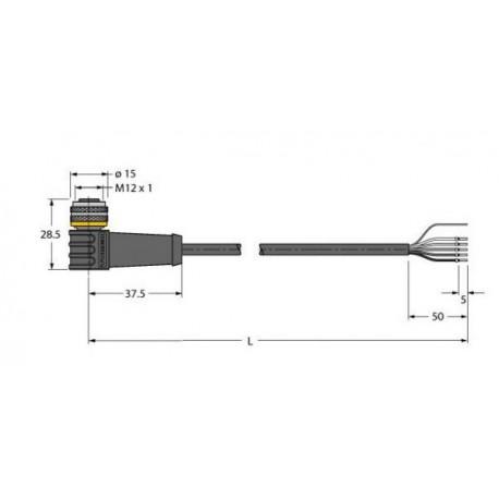 WKC4.5T-5/TXL andurijuhe M12, 5pin, PUR, emane, 90-kraadi, 5m