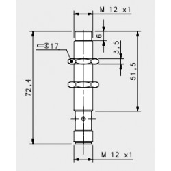 "IS-12-C1-S2 induktiivandur_ 10-30DC_ ""non flush""_ standard korpus_ 4mm_ PNP_ NO_ M12 pistik_ IP67"