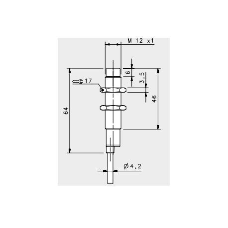 "IS-12-C1-03 induktiivandur_ 10-30DC_ ""non flush""_ standard korpus_ 4mm_ PNP_ NO_ 2m juhe_ IP67"