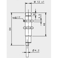"IS-12-C2-03 induktiivandur_ 10-30DC_ ""non flush""_ standard korpus_ 4mm_ PNP_ NC_ 2m juhe_ IP67"