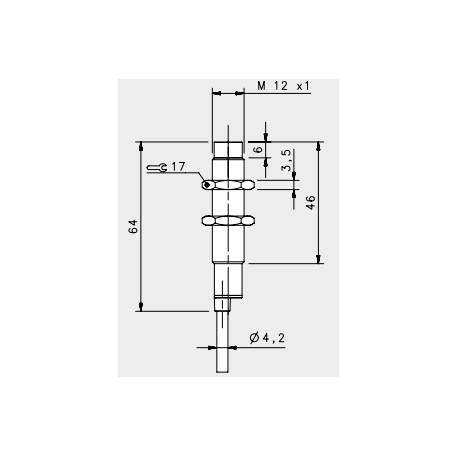 "IS-12-C3-03 induktiivandur_ 10-30DC_ ""non flush""_ standard korpus_ 4mm_ NPN_ NO_ 2m juhe_ IP67"