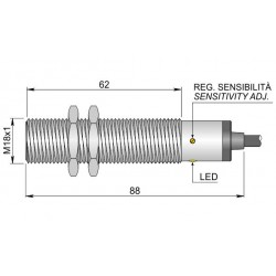 "SC18SM-C5 capacitive sensor, 10-40DC, M18x1, ""flush"", 0-5mm, PNP, NO+NC, 3m cable, IP67"