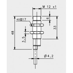 "IS-12-D1-03 induktiivandur_ 10-30DC_ ""non flush""_ lühike korpus_ 4mm_ PNP_ NO_ 2m juhe_ IP67"