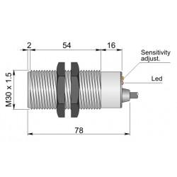 "SC30SP-C20 mahtuvusandur, 10-55DC, M30 plastkorpus, ""flush"", 0-20mm, PNP, NO+NC, 3m juhe, IP67"