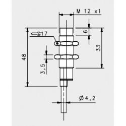 "IS-12-H1-03 induktiivandur_ 10-30DC_ ""non flush""_ lühike korpus_ 8mm_ PNP_ NO_ 2m juhe_ IP67"