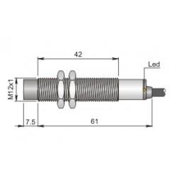 SI12-DCE8 induktiivandur_ 10-30DC_ M12_ PNP_ NO_ 8mm_ 2m juhe